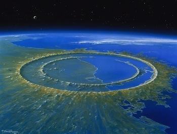 Artwork of the Chicxulub crater off the Yucatán Peninsula, Mexico © Detlev van Ravenswaay/Photo Researchers, Inc.