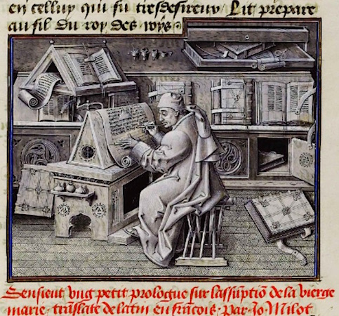 Jean le Tavernier, Portrait of Jean Miélot in his scriptorium, after 1456, Miracles de Notre Dame, f.19 (Bibliothèque nationale de France)