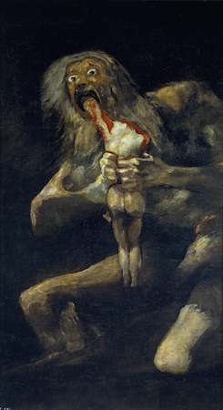 Francisco de Goya y Lucientes, Saturn Devouring One Of His Sons, 1821-1823, 143.5 x 81.4 cm (Prado, Madrid)