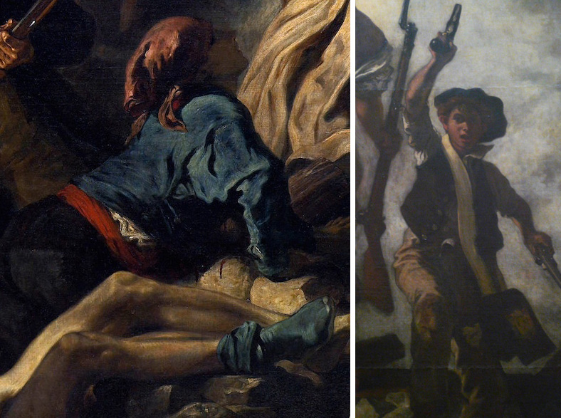Left: fallen adolescent, and right, Boy wielding two pistols (detail), Eugène Delacroix, Liberty Leading the People, oil on canvas, September - December, 1830 (exhibited and purchased by the state from the Salon of 1831) 2.6 x 3.25m (Louvre, Paris)