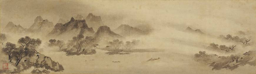 "Muqi Fachang, Fishing Village at Sunset, a section of ""Eight Views of the Xiao and Xiang Rivers,"" 13th-century handscroll, cut and remounted as eight hanging scrolls (Nezu Museum, Tokyo)"
