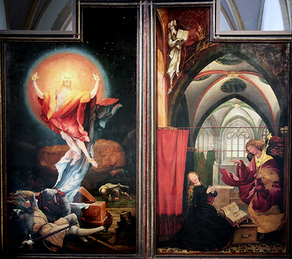 Resurrection and Annunciation panels , Matthias Grünewald, Isenheim Altarpiece, 1510-15