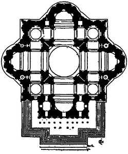 Michelangelo, plan for St. Peter's Basilica, 1547