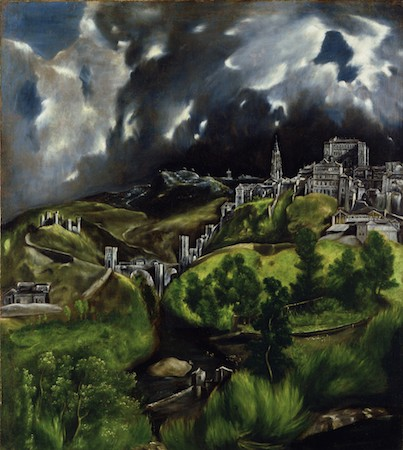 "El Greco, View of Toledo, 1596-1600, oil on canvas, 47 3/4 x 42 3/4"" / 121.3 x 108.6 cm (The Metropolitan Museum of Art)"